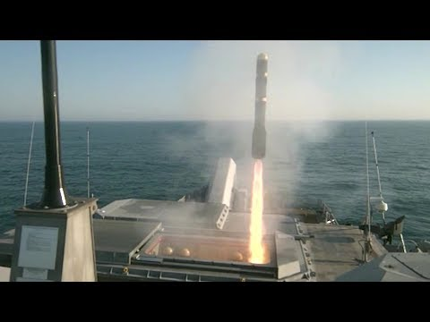 Littoral Combat Ship Fires Longbow Hellfire Missile, Strikes Target Fast Boat