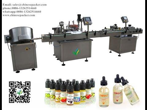 e-liquid bottle unscrambler filling plugging screw capping labeling machines for e-juice