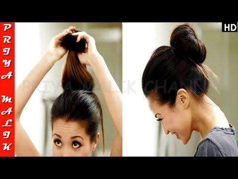 ONE-MINUTE HAIRSTYLE FOR BUSY MORNINGS - EASY HAIR BUN HAIRSTYLE | PRIYA MALIK
