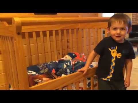 Converting a crib into a toddler bed.