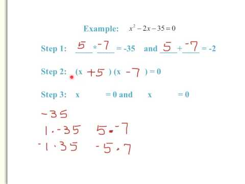 Solving Quadratic Equations by Factoring (When a=1)