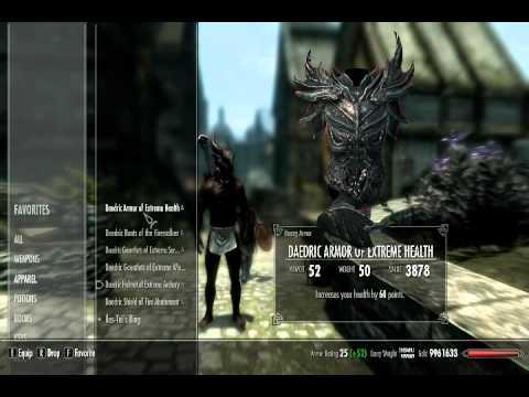 Xbox 360 Skyrim Mod Dawnguard Hearthfire Play as Dremora Male, Modded New Game Save