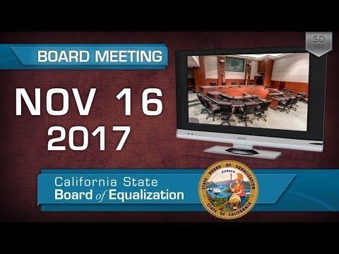 November 16, 2017 California State Board of Equalization Board Meeting