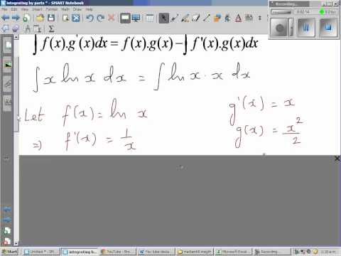 Integration by parts of (x lnx)dx