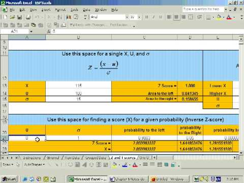 5.3a Finding values on a normal distribution using Excel. Inverse Z-scores