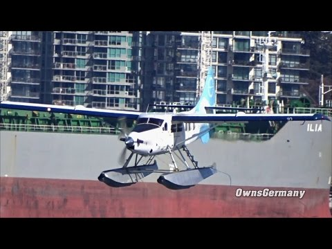Harbour Air DHC-3T Seaplane Lands in Scenic Vancouver Harbour British Columbia