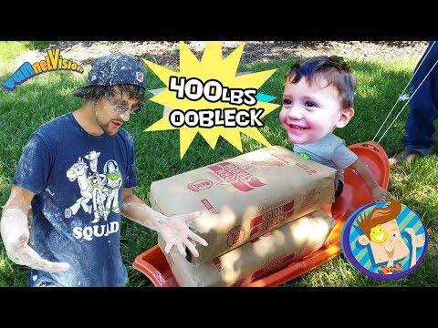 OOBLECK SLIME CHALLENGE! 450lbs Cornstarch  Family Fun! FUNnel Vision