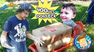 TRAPPED in OOBLECK! 450lbs Cornstarch BATH CHALLENGE Family Fun! FUNnel Vision Kiddie Swimming Pool