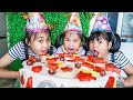 Kids Go To School Childrens Holidays Chuns And Friends Make Birthday Cake To Eat At Home