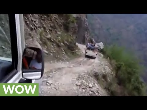 This cliffside road in the Himalayas is absolutely terrifying
