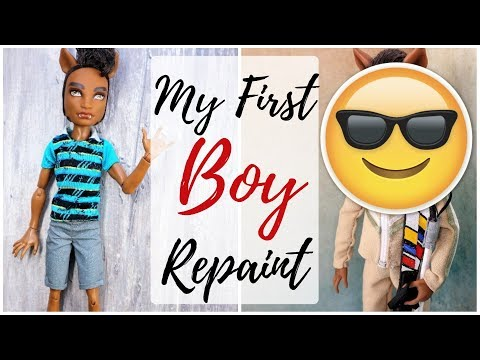 How To Repaint MALE Monster High Dolls / Customizing My 1st Boy Doll / Drawing Man Face, Eyes, Lips