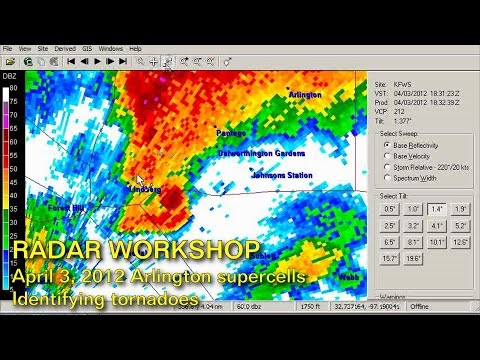 RADAR  WORKSHOP #2: Tornado identification -- Arlington TX 4/3/2012 tornado