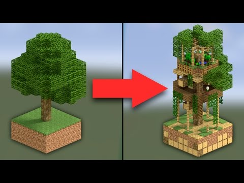How to Make an Oak Treehouse | Minecraft