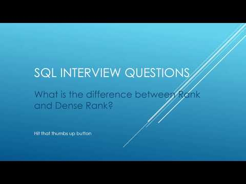 SQL Interview Questions - What is the difference between Rank and Dense Rank