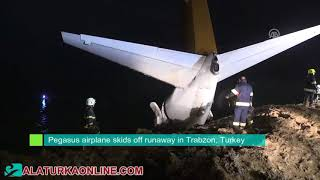 Pegasus airplane skids off runaway in Trabzon, Turkey
