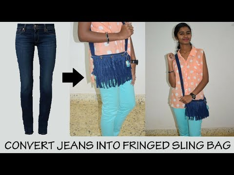 DIY Convert Jeans into Fringed Sling Bag|| No Sew DIY (or) Sew DIY Tutorial