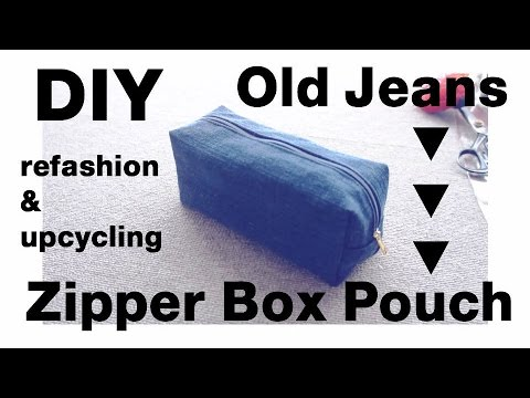 Refashion DIY Upcycled Denim Zipper Box Pouch デニム ✂️ リメイクㅣmadebyaya