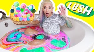 MIXING EVERY LUSH BATH BOMB TOGETHER! BATH ART CHALLENGE! SO SATISFYING ! | NICOLE SKYES