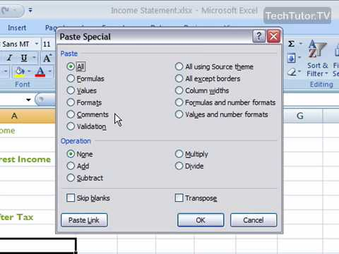 Use Paste Special in Excel 2007