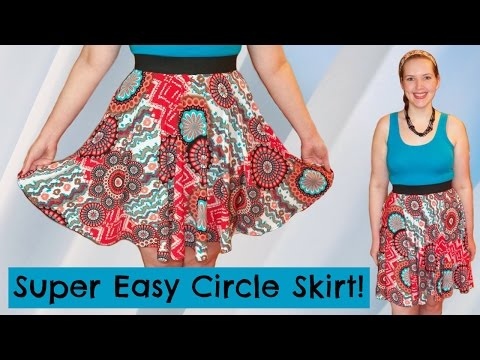 DIY Easiest Circle Skirt Ever! - Elastic Waistband + Stretch Fabric [No Zipper] - Sewing