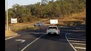 Toyota Supra flies off embankment - Queensland