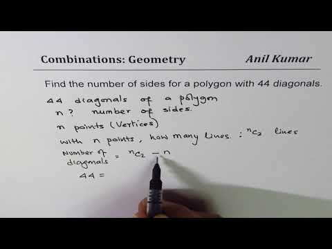 Find the number of sides of a polygon with 44 diagonals