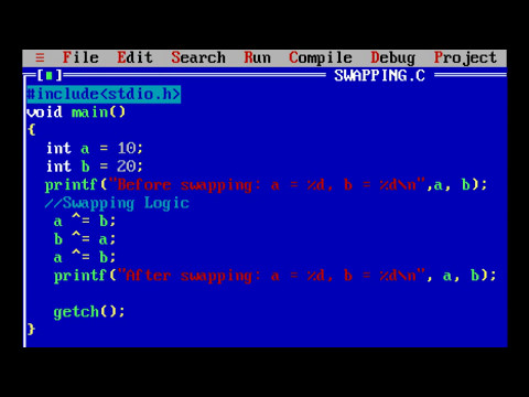Swapping two numbers in C using XOR swap algorithm / Bitwise Exclusive OR Operator
