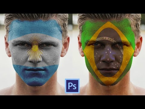How to Paint Flag on Face in Photoshop CC