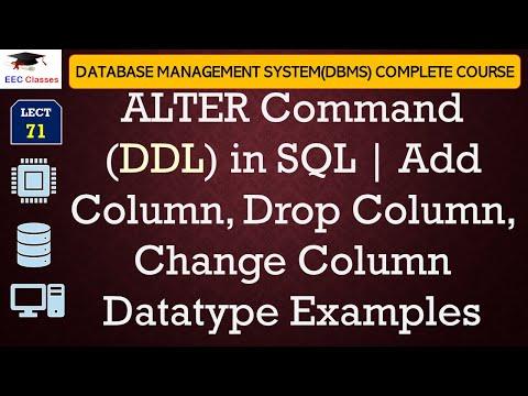 SQL Alter Statement - Add Column, Drop Column, Change Column Datatype