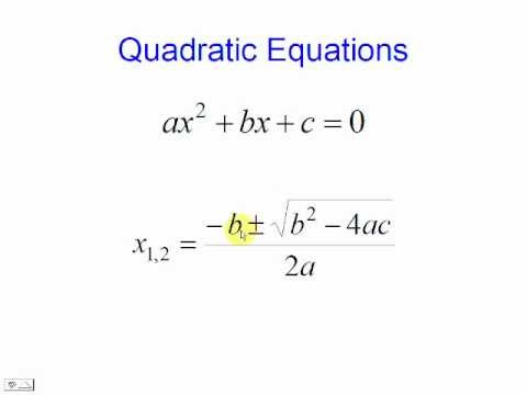Quadratic Equation Solver - Formula
