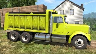 Beamng Drive - Dump Truck Transporting Wood Planks & A Concrete Barrier