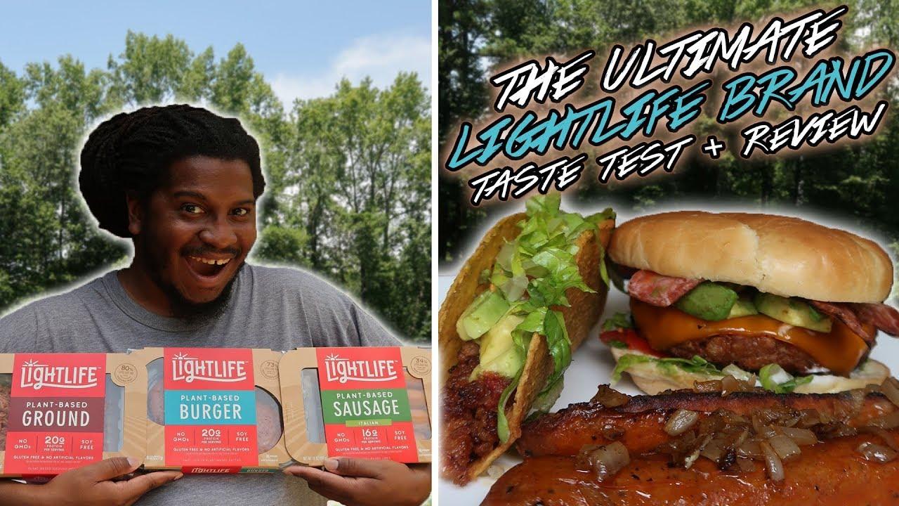 LIGHTLIFE VEGAN BURGER Taste Test + Review | burger, ground, sausage (new products!)