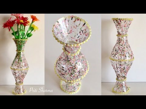 Best Out Of Waste Plastic Bottle Flower Vase - 3 / DIY / Plastic Bottle Craft Idea   Priti Sharma