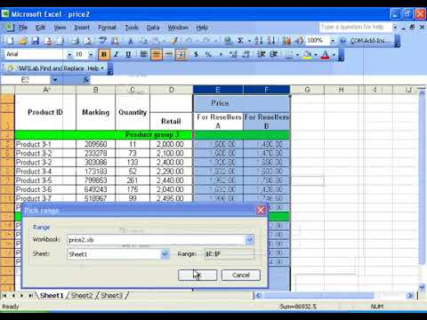 How to find and replace data in several Excel files