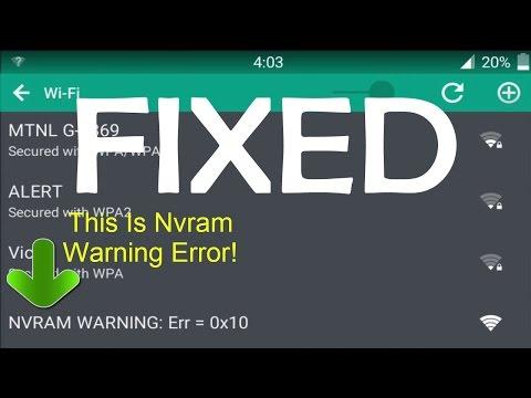 FIX WIFi NVRAM WARNING In 2 Simple Steps