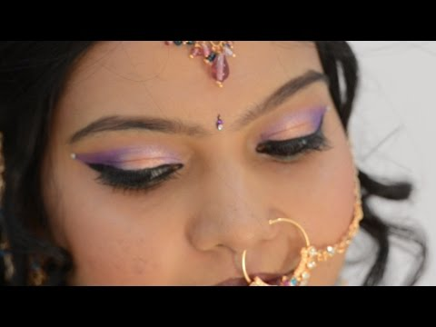 Pink Purple Golden Eye-shadow in HINDI: Bridal Eye Makeup at HOME
