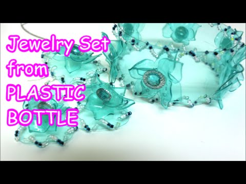 Handmade Jewelry Making DIY Bracelets Earrings Pendant from Plastic Bottle Recycled Bottles Crafts
