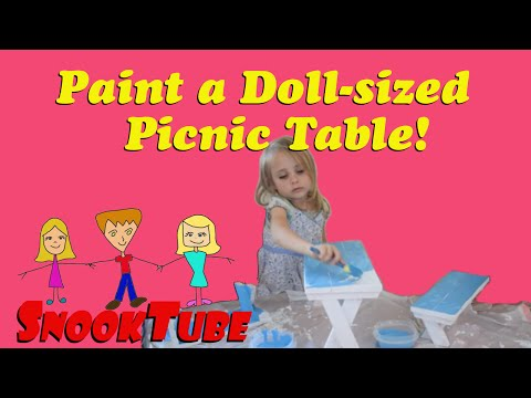 Painting an American Girl doll sized Picnic Table!