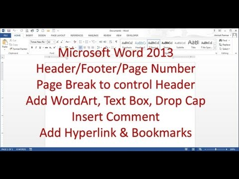Microsoft Word 2013/2016 pt 6 (Header/Footer, Break, Bookmark, Comment)