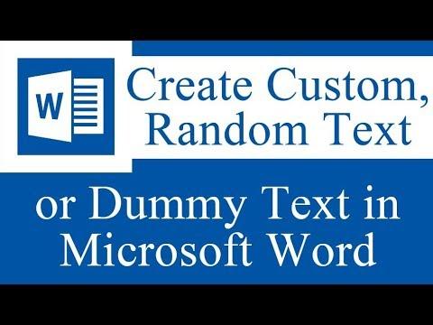 Create custom random text in MS Word - Microsoft Word Tutorial