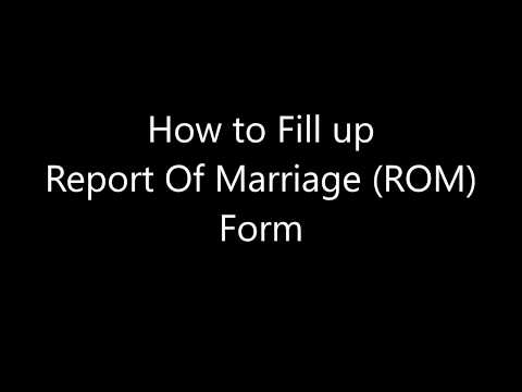 How to Fill Up Report Of Marriage Form