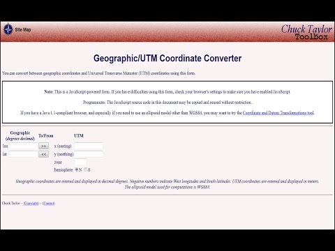Convert between geographic coordinates and UTM coordinates using this site