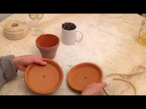 Making bird feeder from terra cotta pot