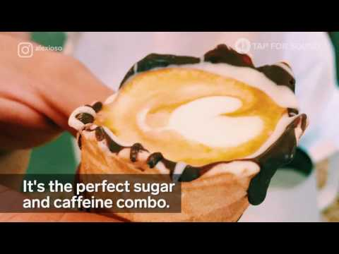 This cafe serves espresso in an ice cream cone