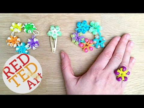 Loom Bands Flower Ring, Bracelets DIY (Fingers Only) - Cool Craft Ideas