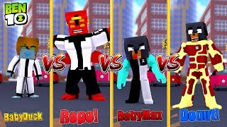 Minecraft BEN 10 VS - HEAT BLAST (Donut) vs FOUR ARMS (Ropo) vs DIAMONDHEAD (Baby Max)