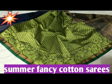 Latest summer cotton fancy sarees|new collection 2018