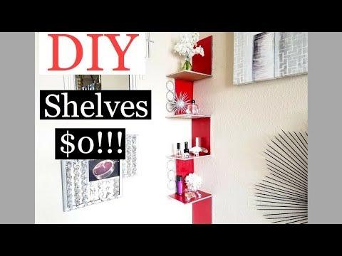 Cheap DIY Room Decor Shelves $0!!! Inexpensive Organization!