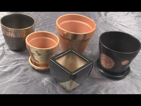 Art Lesson :  How to Gild Flower Pots with Designer Leaf