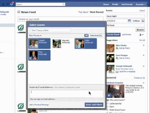 How to create events using Facebook